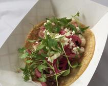 Burnt Ends Taco: Hatch salsa, pickled red onion, Cotija, cilantro