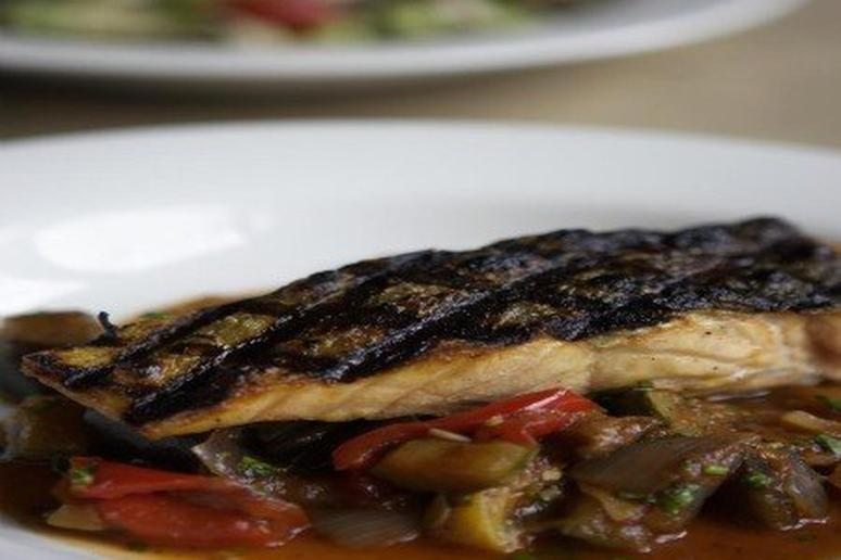 Grilled Salmon with Ratatouille and Black Olive Tapenade