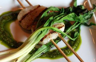 Seared Scallops with Grilled Ramps and Chimichurri