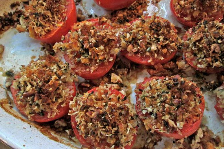 Crispy-Crumbed Baked Tomatoes with Pecans and Parmesan