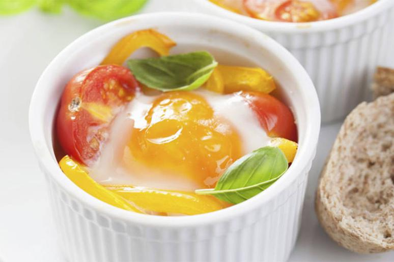 Slow-Cooked Eggs With Roasted Tomatoes and Goat Cheese