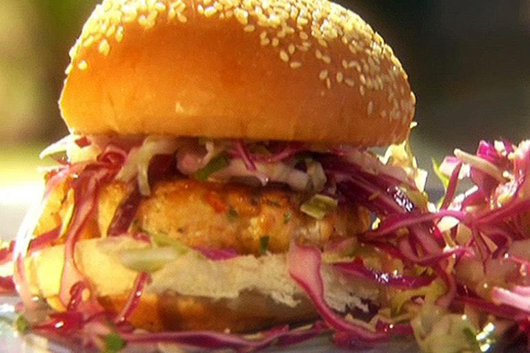 Salmon burgers with soy mayo and simple sesame slaw by emeril salmon burgers with soy mayo and simple sesame slaw forumfinder Choice Image