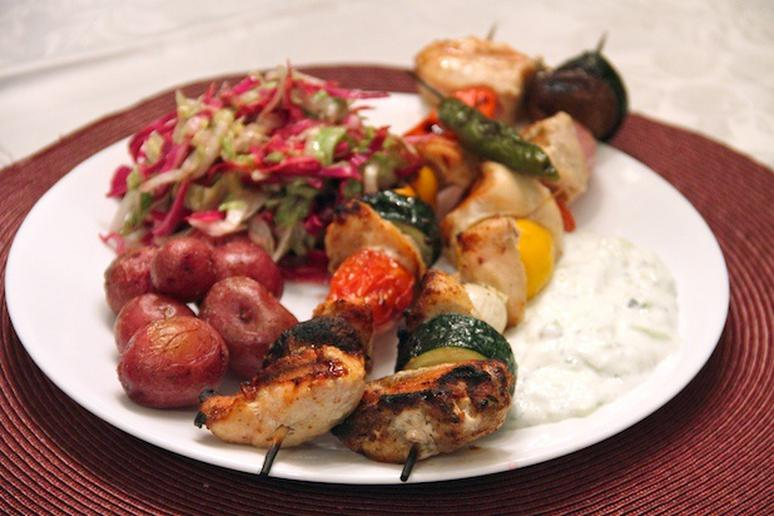 Grilled Chicken Kebabs and Potatos with Chiffonade Salad and Yogurt Sauce