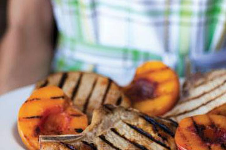 Grilled Country Pork Chops With Bourbon-Basted Grilled Peaches Recipe