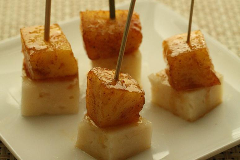 Pinapple-Manchego Skewers