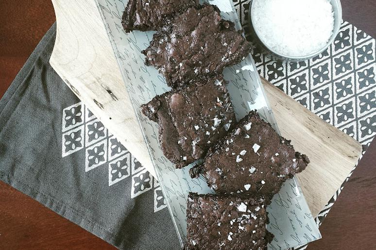 Double Dark Chocolate Brownies With Olive Oil and Flaky Salt
