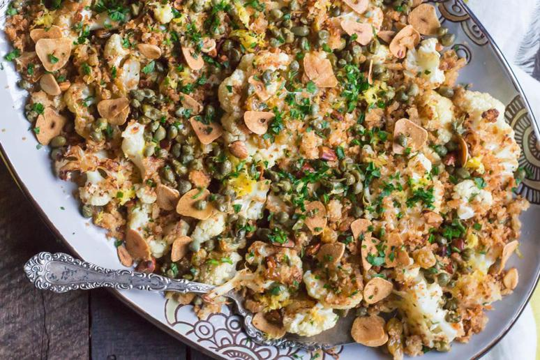 Roasted Cauliflower With Breadcrumbs, Capers, Almonds, and Raisins