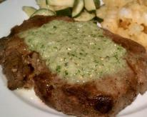 Rib-eye steaks with salsa verde