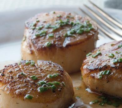 Seared Scallops with Brown Butter and Chive Sauce