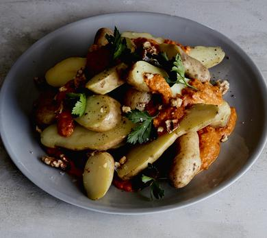 Red Pepper Rouille on Kipflers with Toasted Walnuts