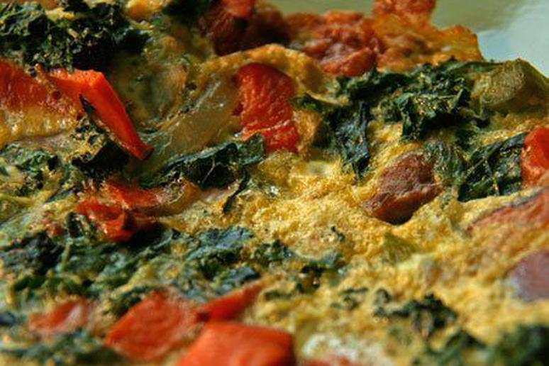 Merguez, Kale, and Sweet Potato Frittata