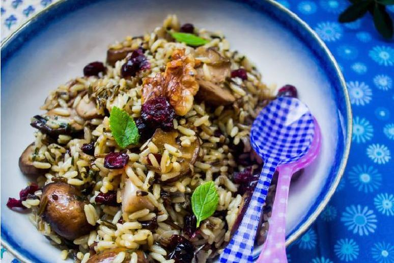 Wild Rice With Cranberries, Mushrooms, and Walnuts