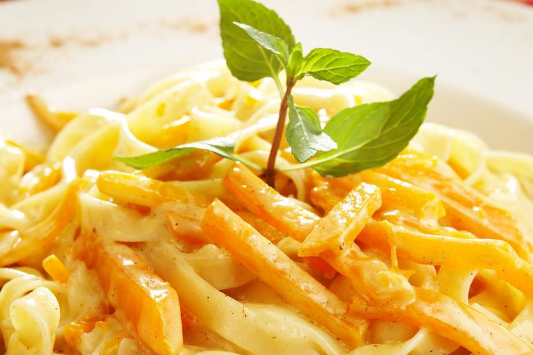 Creamy Pumpkin Penne With Crispy Sage and Toasted Pecans