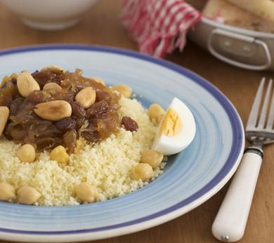 Couscous with Caramelized Onion and Raisin Tfaya