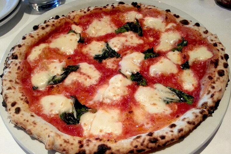#42 Pizza Rock, Las Vegas, Nev. (Margherita: Dough mixed by hand using San Felice flour then proofed in  Napoletana wood boxes, San Marzano tomatoes D.O.P., sea salt, mozzarella fior di latte, fresh basil, extra-virgin olive oil)