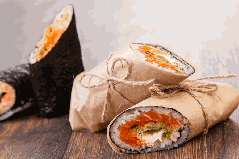 This salmon sushi burrito can be made at home!