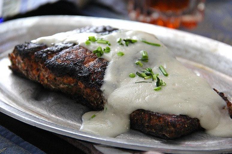 Nordic Blackened Salmon topped with Danish Blue Cheese Crème Sauce