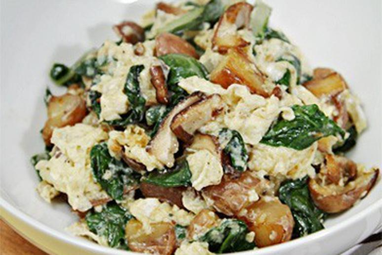 Scramble with Fontina, Shiitakes, Chard, and Fingerling Potatoes