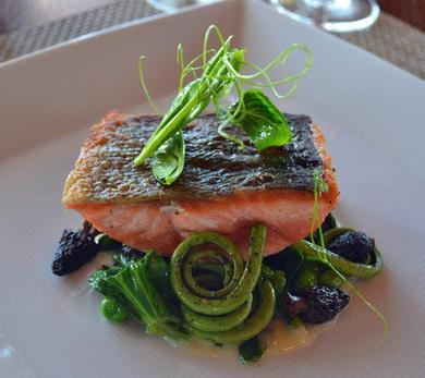 Pan-Roasted Salmon with Morel Mushrooms, Fiddlehead Ferns, and English Peas