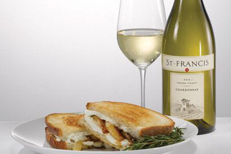 Pear Grilled Cheese and Wine