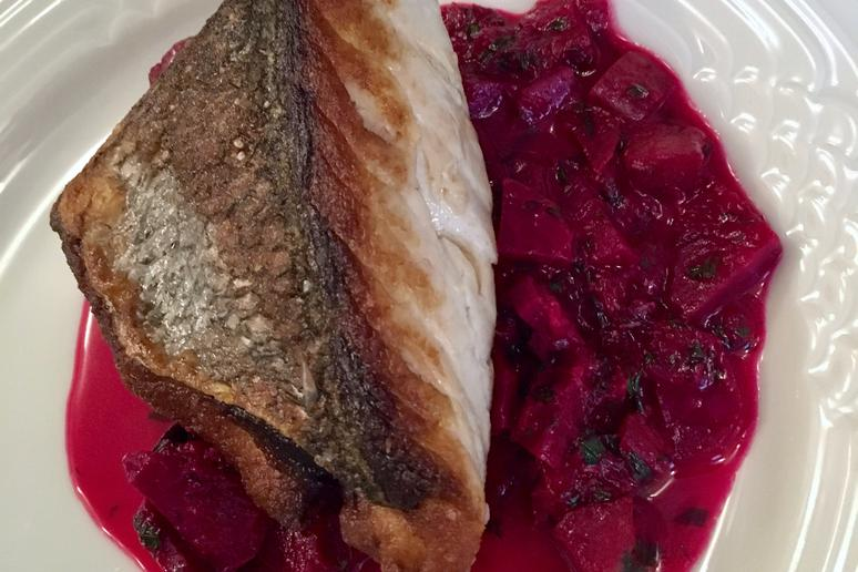 Bluefish with Beets and Rhubarb
