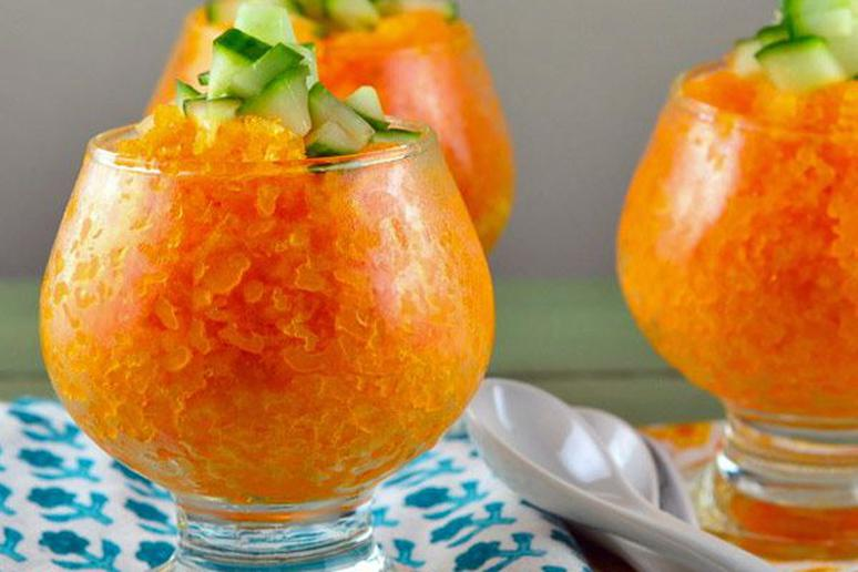 Savory Carrot-Coconut Granita with Cucumber Topping
