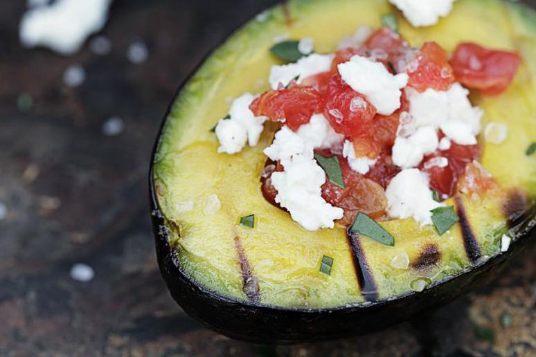 Grilled Avocado Stuffed With Tomato and Feta