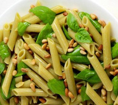 green lentil penne with deconstructed pesto