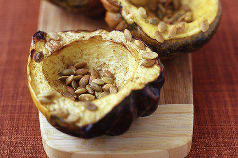 Roasted Acorn Squash with Cumin and Pumpkin Seeds