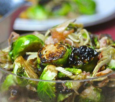 Flame-Roasted Brussels Sprouts with Fennel and Serrano Ham