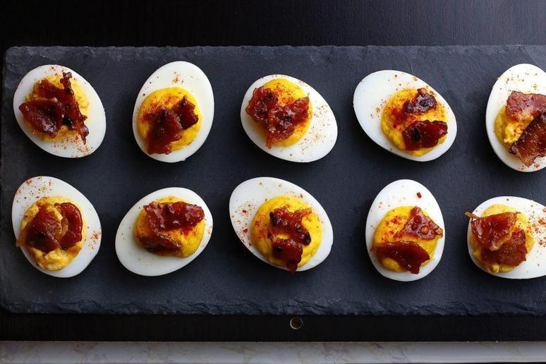 Sriracha Deviled Eggs With Candied Bacon