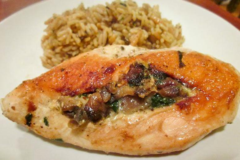Spinach-Stuffed Chicken Breasts with Mushrooms Recipe