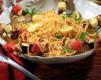 Grilled Spaghetti with a Grilled Chicken and Vegetable Skewer and a Simple Garlic and Herb Sauce