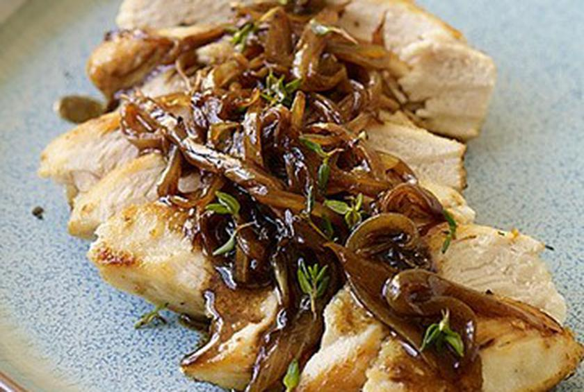 Chicken with Balsamic Vinegar, Sweet Onions, and Thyme