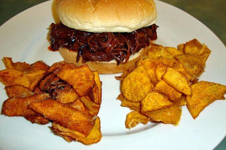 Barbecue Beef Brisket and Sweet Potato Chips