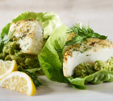 Dilled Alaska Cod Burgers With Avocado Spread