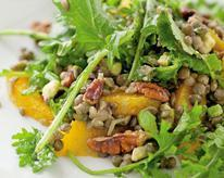 Lentils, Avocado, Oranges, Pecans, and Kale with Ginger Dressing