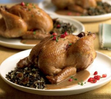 Pomegranate-Sun Dried Tomato Glazed Cornish Game Hens with Wild Rice, Olive and