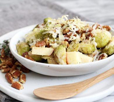 Roasted Brussels Sprouts With Apples and Pecans