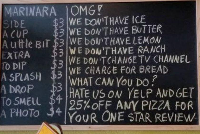 Restaurant's Genius Sign Takes on Bad Yelp Practices