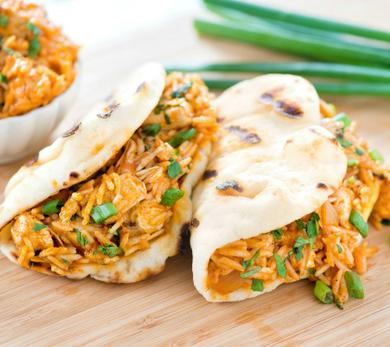 Mini Naan Butter Chicken and Rice Tacos