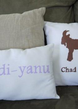 Passover-themed pillows.