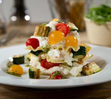 Cold, No-Bake Lasagna with Sautéed Zucchini, Tomato Salad, Ricotta, and Pesto Sauce