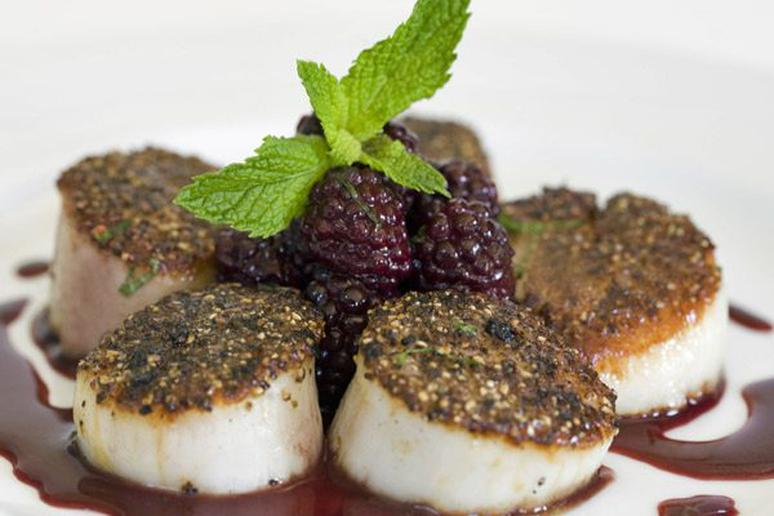 Scallops, Whiskey, and Mint