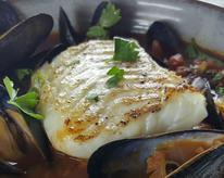 Pan Seared Alaska Cod with Mussels in Tomato Broth