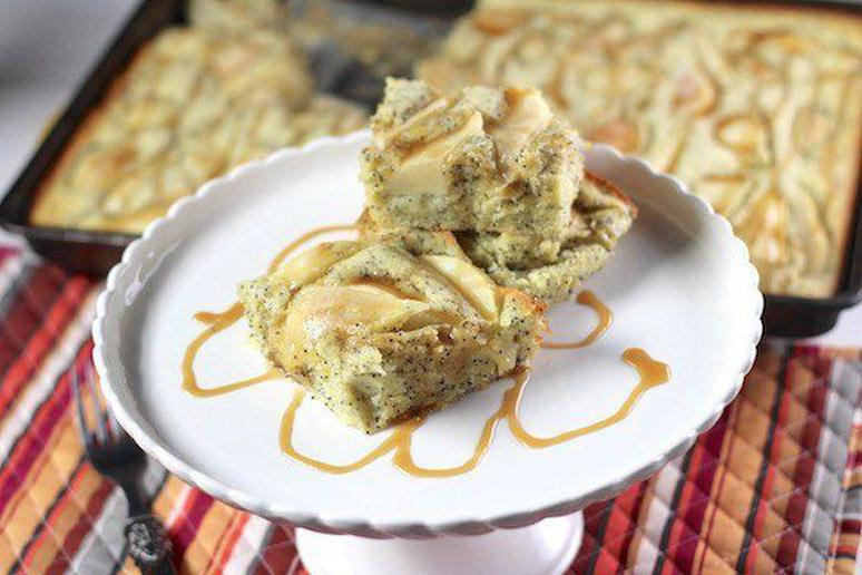 Pear Poppy Seed Cake With Caramel Sauce