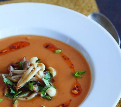 Sweet Potato Soup with Lime Leaves, Beech Mushrooms, Basil, and Peanuts