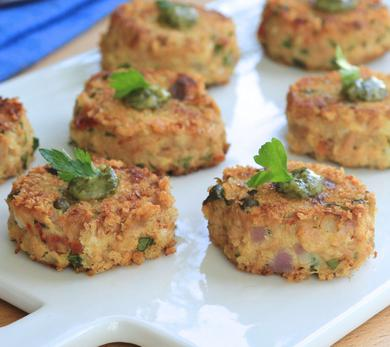 Mediterranean Mini Tuna Cakes With Pesto