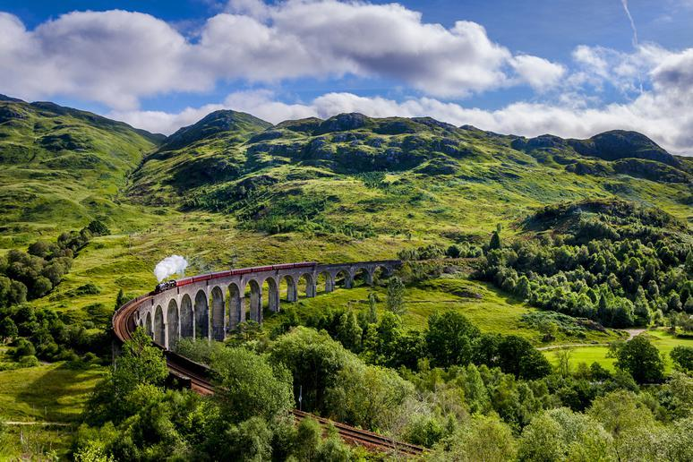 Take a train ride in Scotland