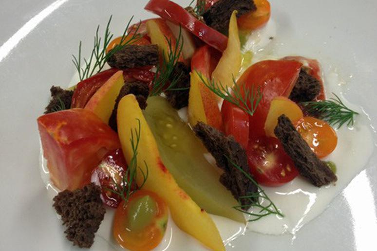 Tomato Salad with Pickled Green Tomatoes